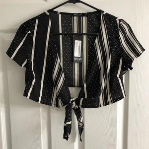Nasty Gal tie front blouse